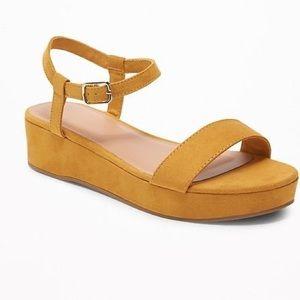 Faux-Suede Marigold Ankle-Strap Platform Sandals